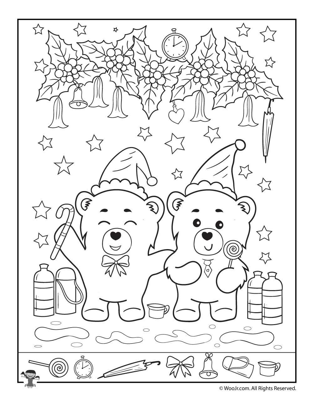 Christmas Hidden Picture Puzzles Printable Bear Y Fun Christmas I Spy Page
