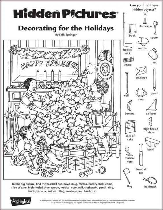 Christmas Hidden Picture Puzzles Printable Highlights In the Classroom