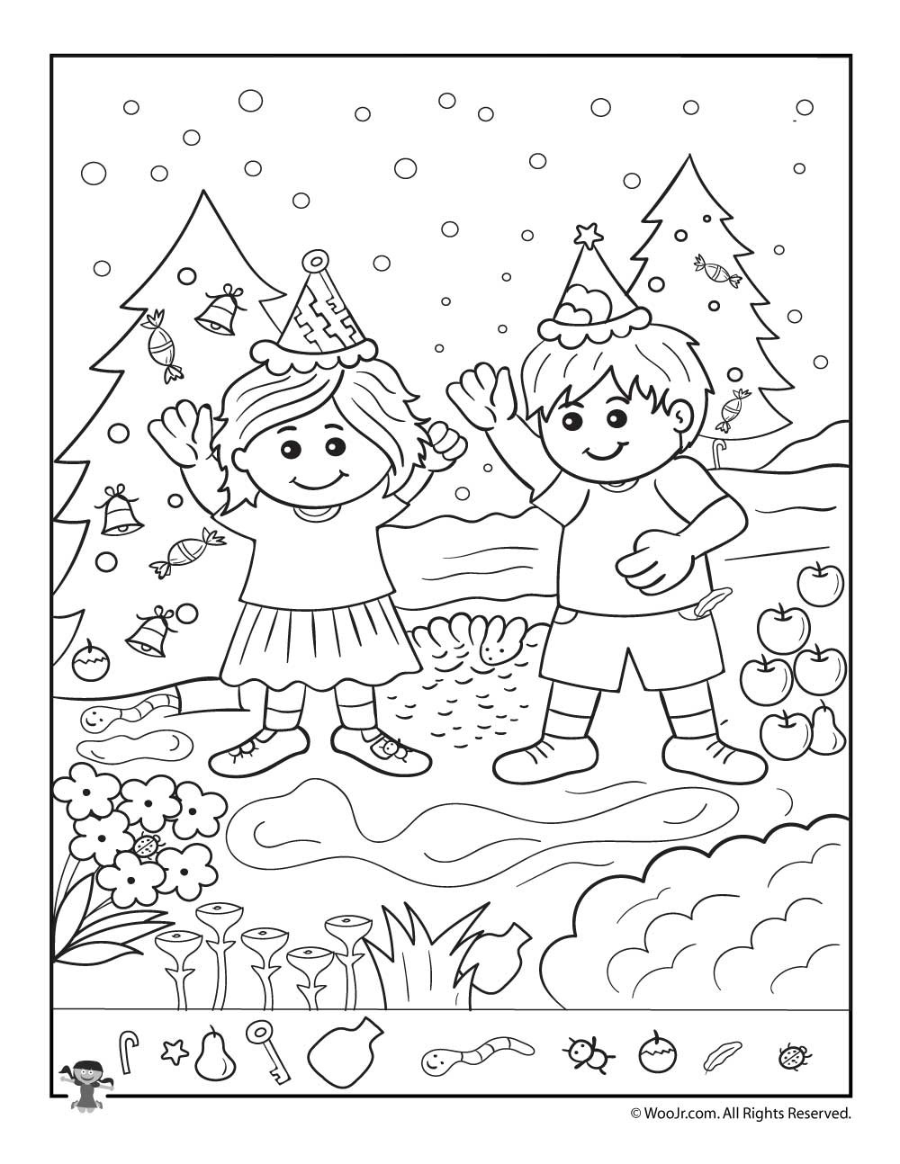 Christmas Hidden Picture Puzzles Printable the Kids at Christmas Hidden Picture Page