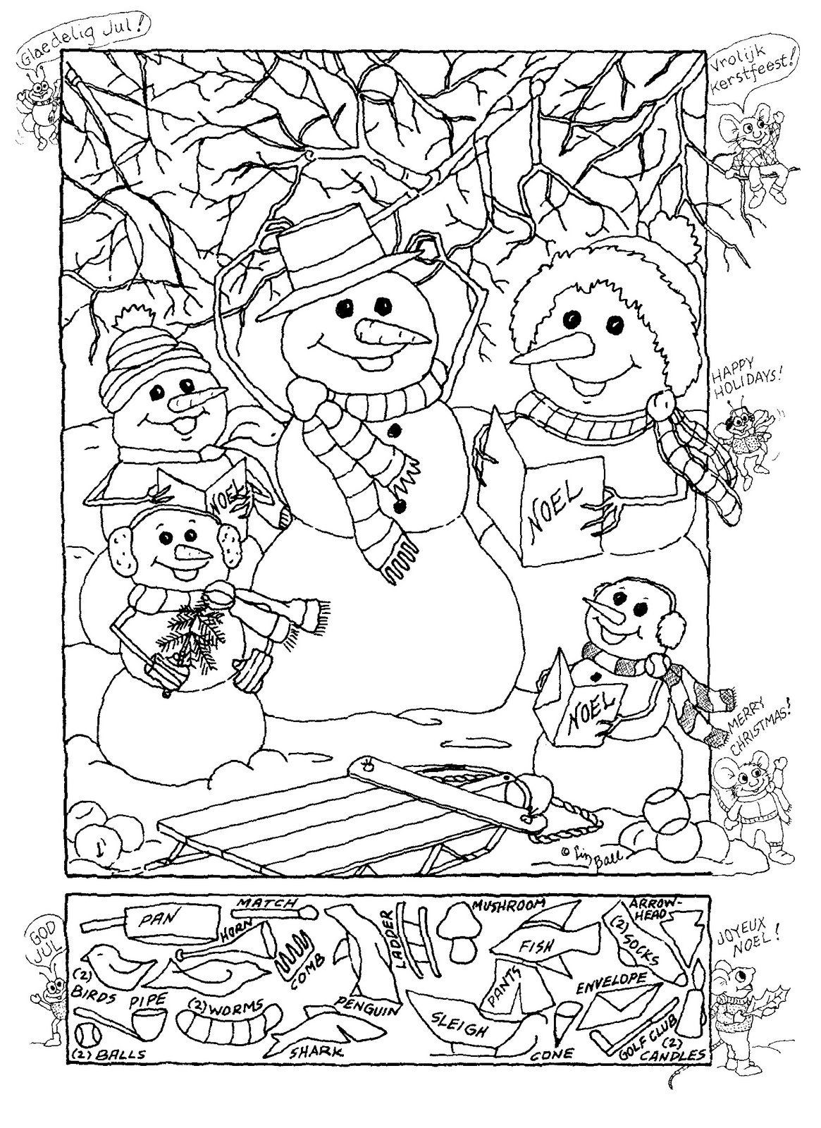 Christmas Hidden Pictures Printable Snowman Hidden Picture Puzzle for Christmas