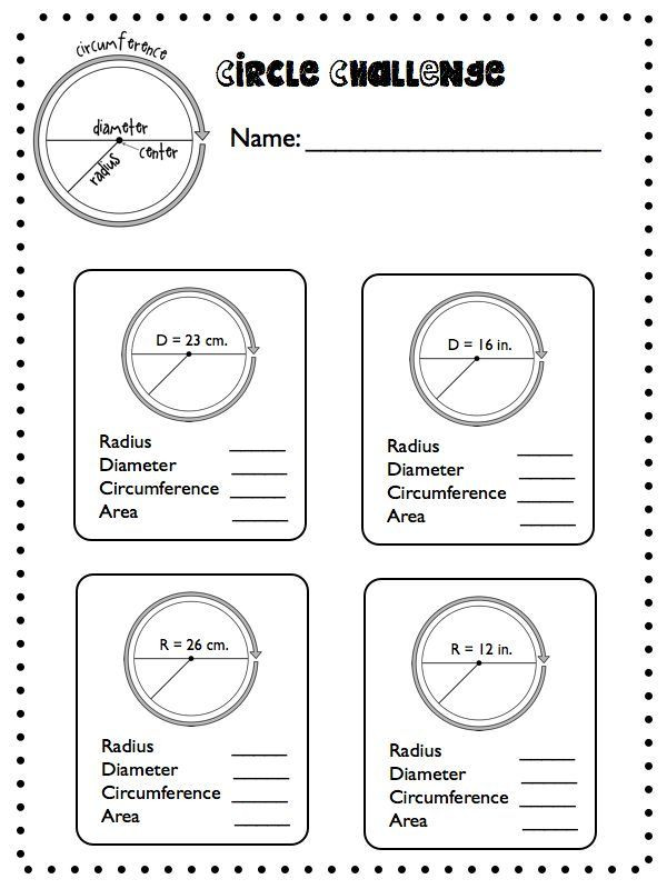 Circle Graphs Worksheets 7th Grade Circles Circles Everywhere Radius Diameter Circumference