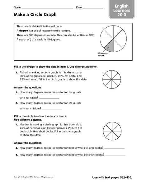 Circle Graphs Worksheets 7th Grade Make A Circle Graph Esl Worksheet for 6th 7th Grade