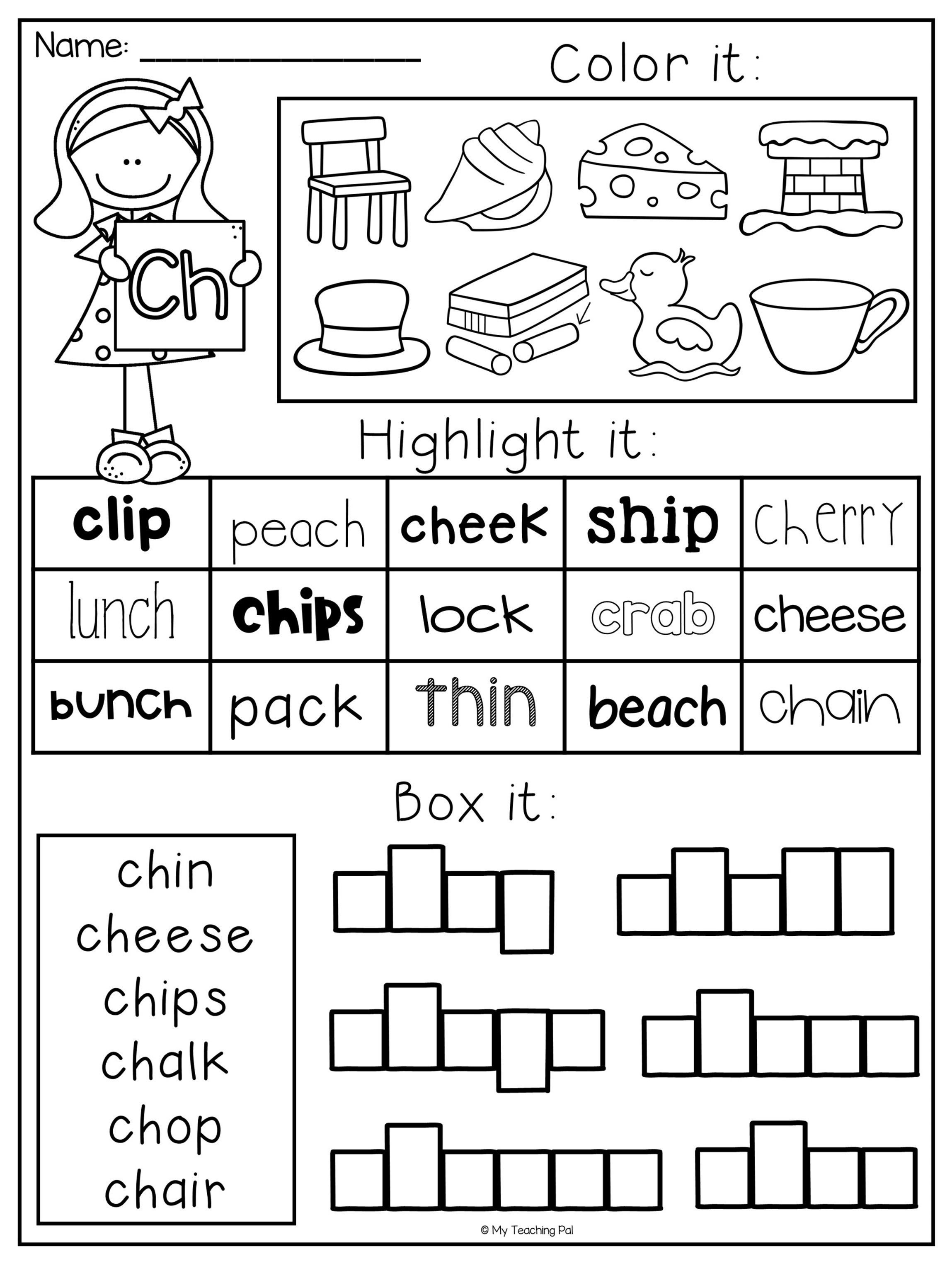 Ck Worksheets for 1st Grade Ch Digraph Worksheets