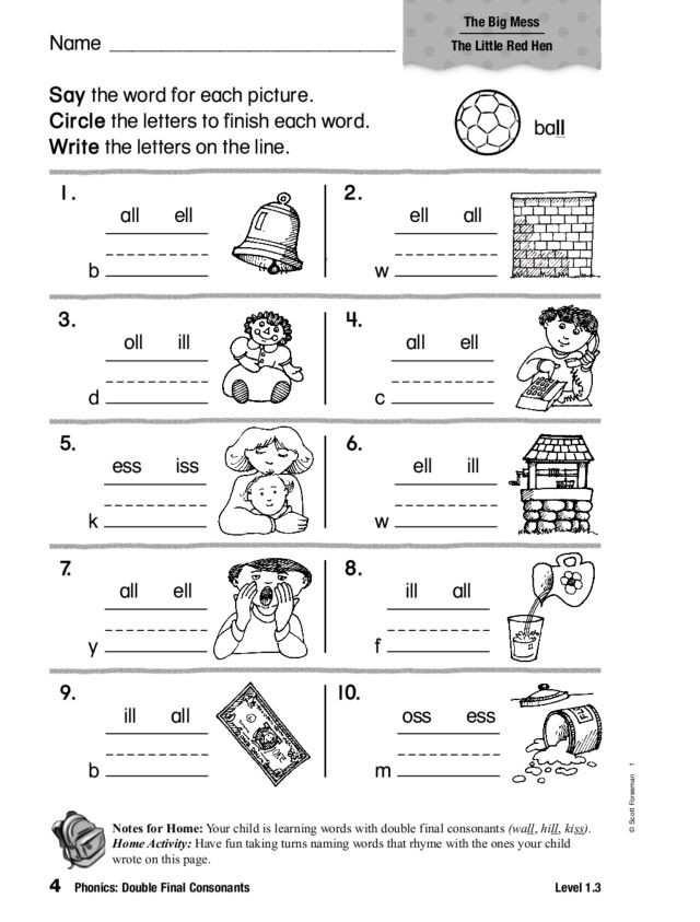 Ck Worksheets for 1st Grade Phonics Double Final Consonants Worksheet for 1st 2nd