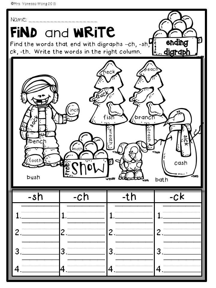Ck Worksheets for 1st Grade Winter Math and Literacy No Prep Printables First Grade