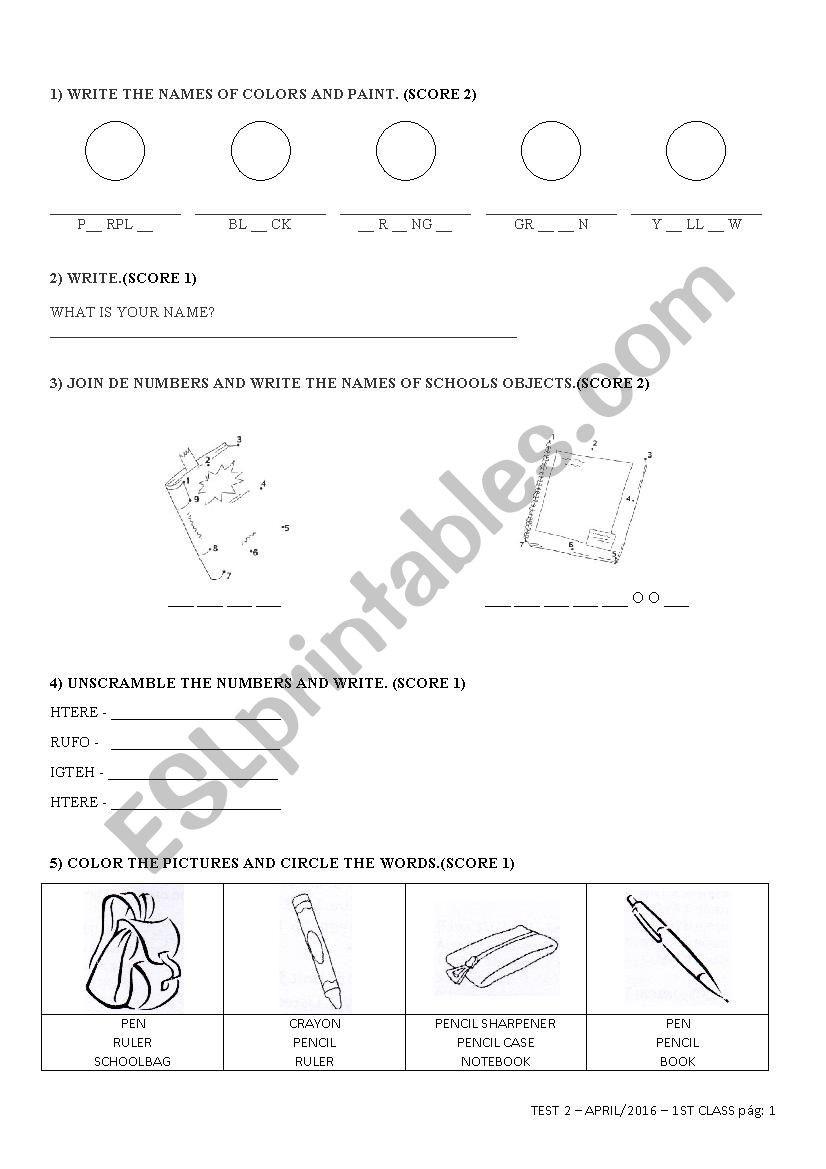 Ck Worksheets for 2nd Grade English Test 2 for 1st Grade 1b Esl Worksheet by