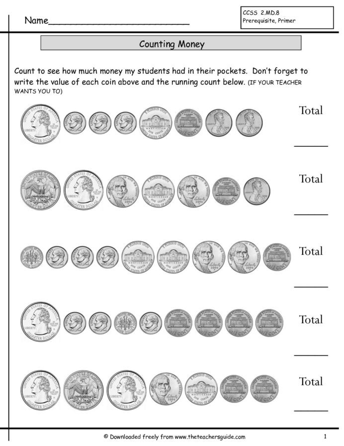 Coin Worksheets First Grade Counting Coins First Grade Lessons Tes Teach Worksheets