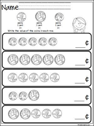 Coin Worksheets First Grade Free Coin Counting Math Worksheet Students Practice Adding