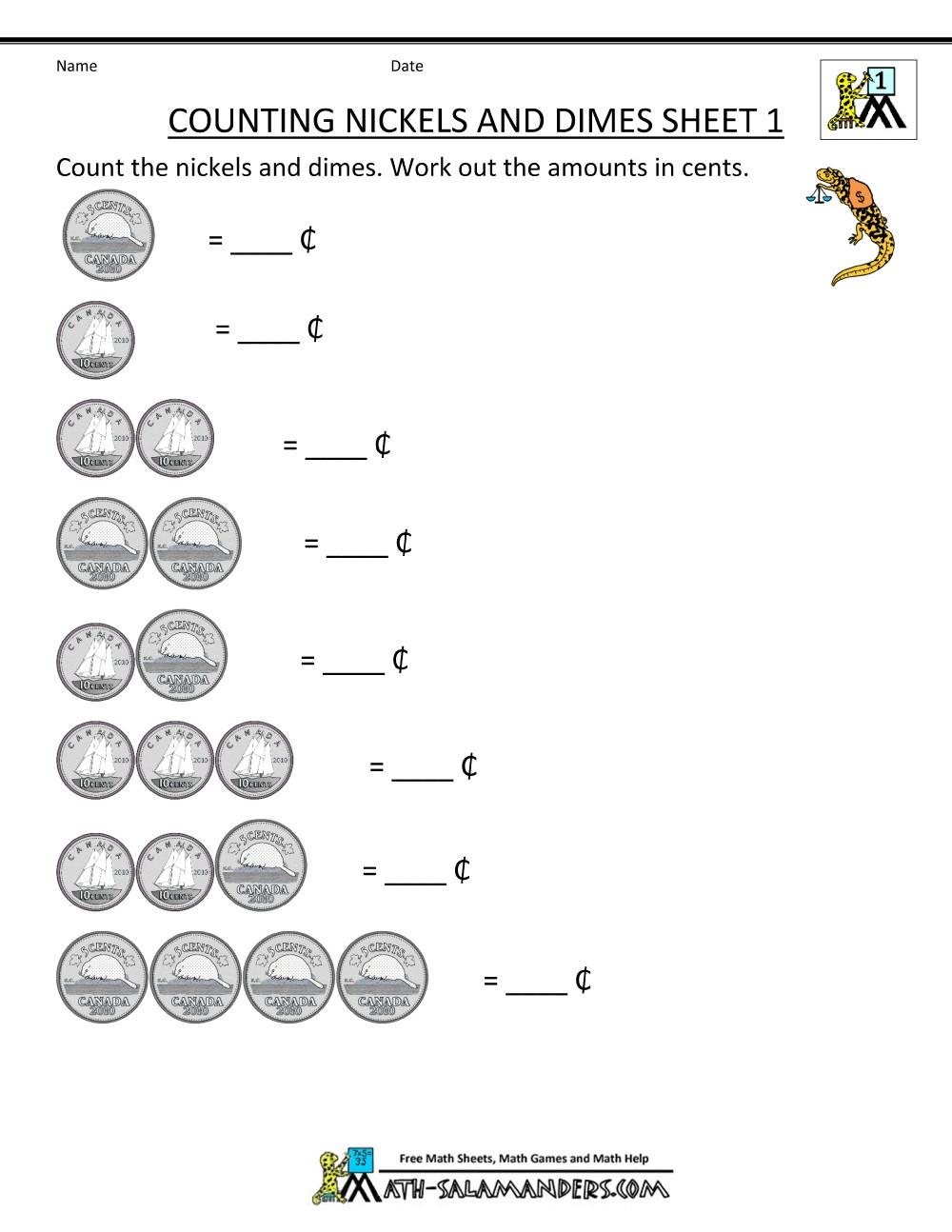 Coin Worksheets First Grade Money Count Sheet Newest Canadian Money Worksheets