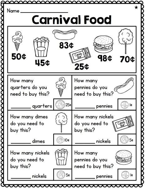 Coin Worksheets First Grade Pin On School Printables