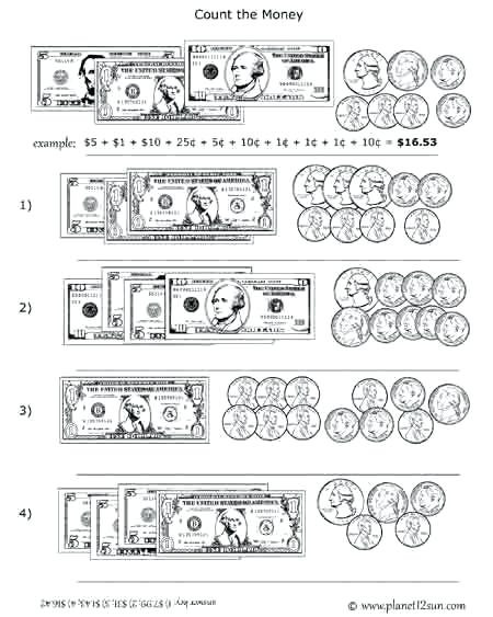 Coin Worksheets for 2nd Grade Counting Coins and Bills Worksheets Count the Money