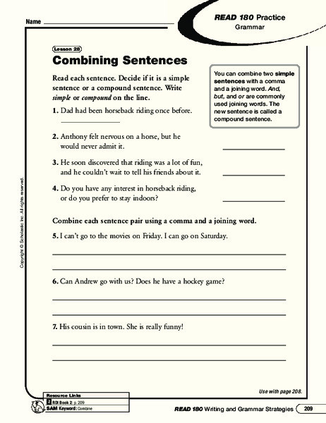 Combining Sentences Worksheets 5th Grade Bining Sentences Worksheet for 5th 8th Grade