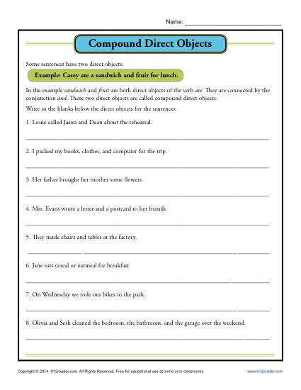 Combining Sentences Worksheets 5th Grade Pound Direct Object Worksheet