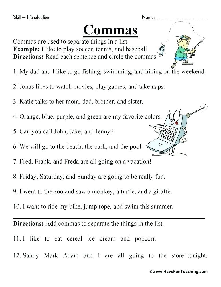 Comma Worksheets 2nd Grade Ma Worksheets Mas In A Series Worksheet Ma Quiz
