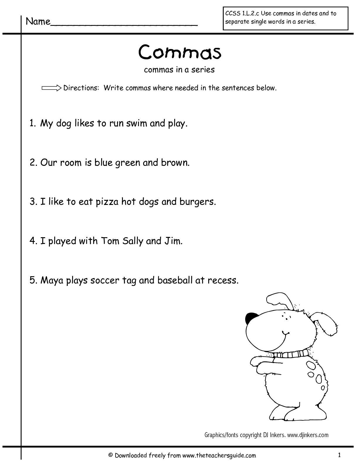 Comma Worksheets 2nd Grade Masinseriesfirstgrade2 001 001 1224—1584