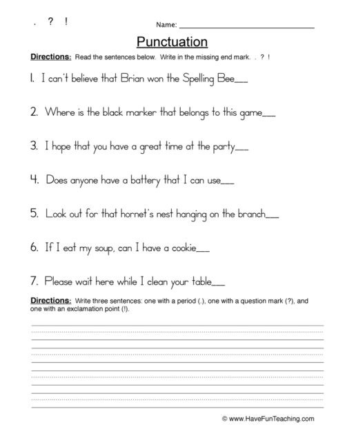 Comma Worksheets 2nd Grade Punctuation Worksheets • Have Fun Teaching