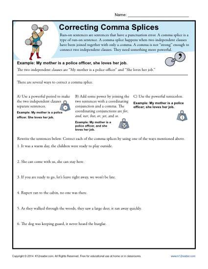 Commas Worksheet 4th Grade Correcting Ma Splices