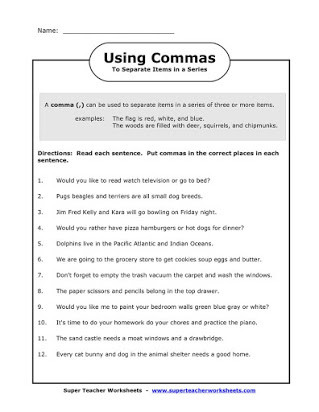 Commas Worksheet 4th Grade Free Worksheets Mas