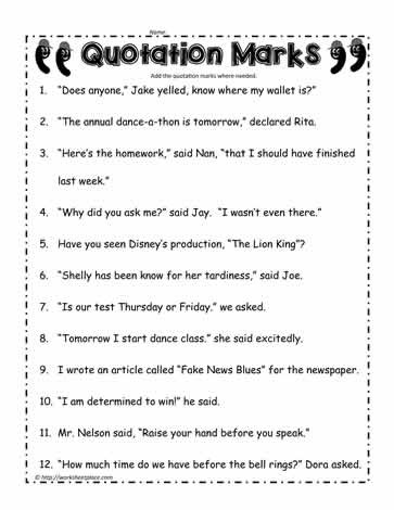 Commas Worksheet 4th Grade Quotation Marks Worksheet Worksheets