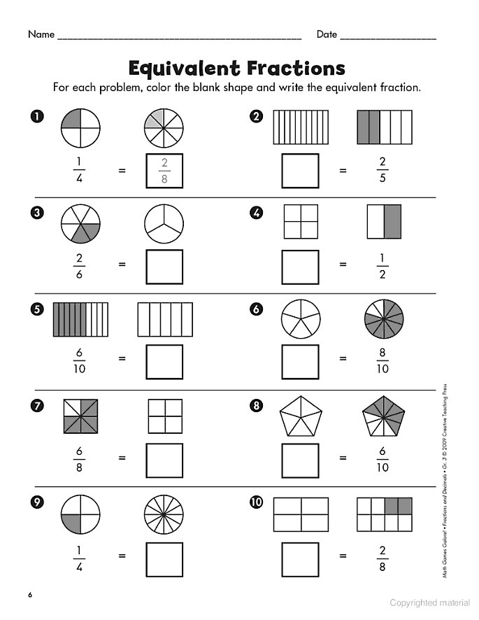 Comparing Fractions Worksheet 3rd Grade Pare Fractions Worksheet 3rd Grade & Equivalent Fraction