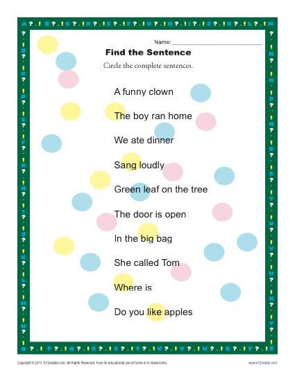 Complete Sentences Worksheets 1st Grade Find the Sentence