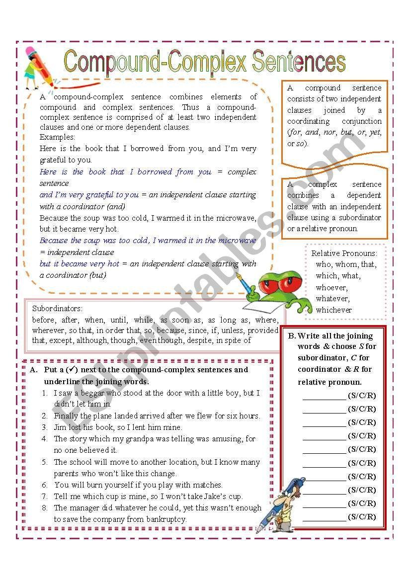 Complex Sentence Worksheets 3rd Grade Pound Plex Sentences Esl Worksheet by Missola