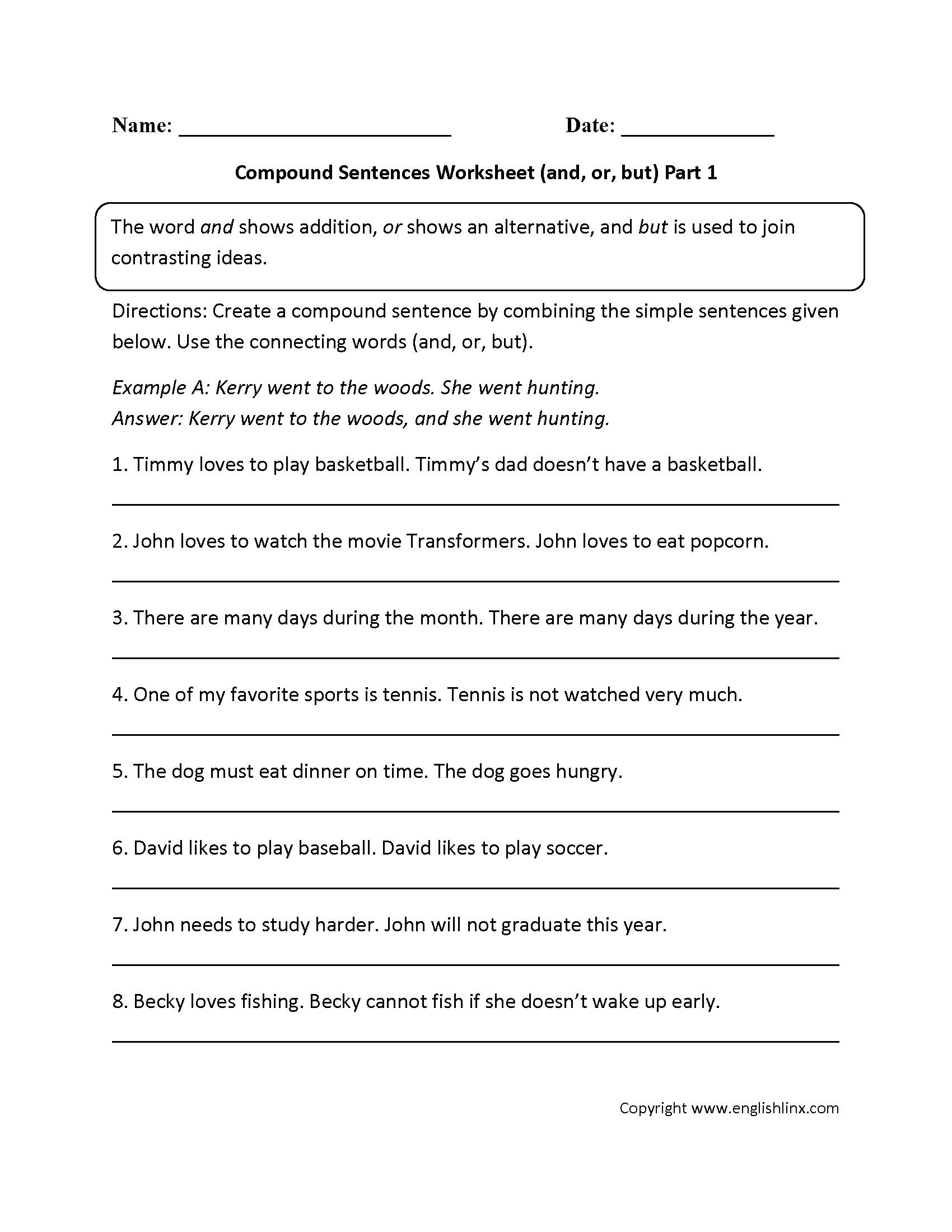 Complex Sentence Worksheets 3rd Grade Pound Sentences Worksheet 3rd Grade