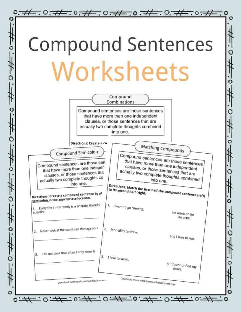 Complex Sentence Worksheets 3rd Grade Pound Sentences Worksheets Examples & Definition for Kids