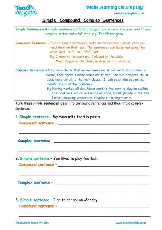 Complex Sentence Worksheets 3rd Grade Simple Pound Plex Sentences