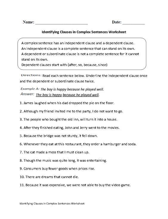 Complex Sentence Worksheets 4th Grade Identifying Clauses In Plex Sentences Worksheet