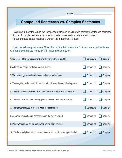 Complex Sentence Worksheets 4th Grade Pound Sentences Vs Plex Sentences