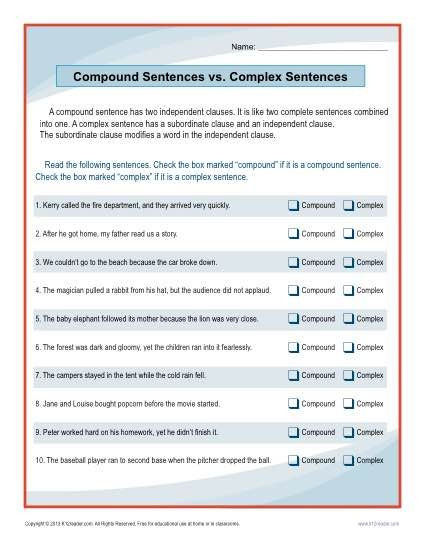 Complex Sentence Worksheets 4th Grade Pound Sentences Vs Plex Sentences Worksheet
