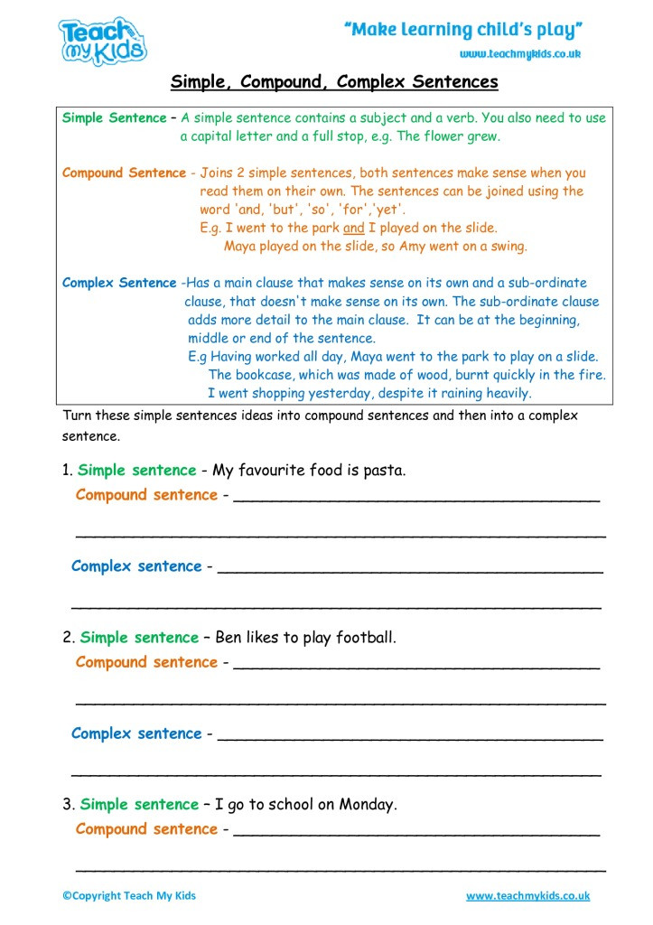 Complex Sentence Worksheets 4th Grade Simple Pound Plex Sentences