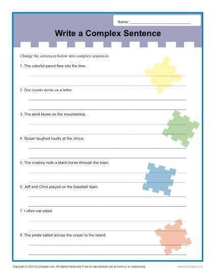 Complex Sentence Worksheets 4th Grade Write A Plex Sentence Worksheet