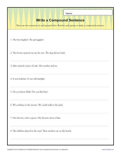 Complex Sentence Worksheets 4th Grade Write A Pund Sentence