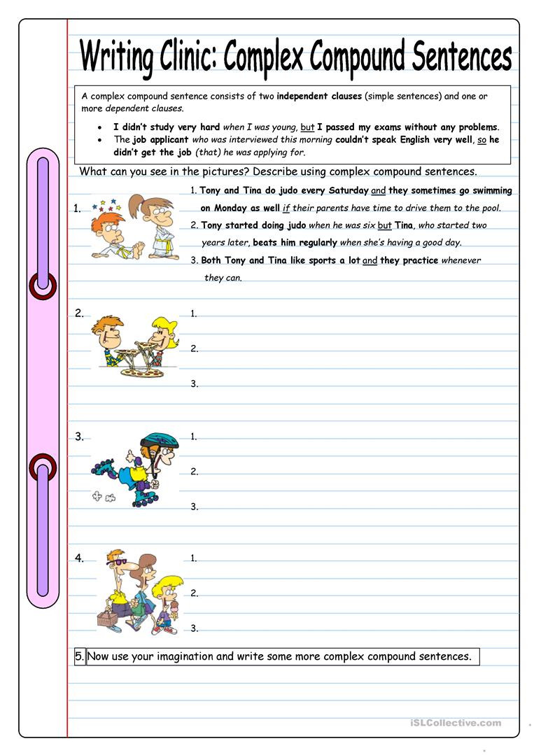 Complex Sentence Worksheets 4th Grade Writing Clinic Plex Pound Sentences English Esl