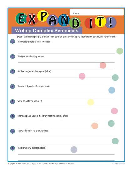 Complex Sentence Worksheets 4th Grade Writing Plex Sentences