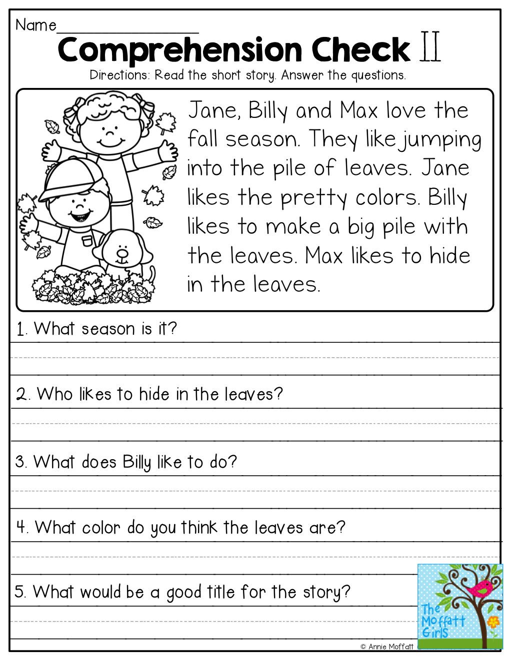 Comprehension Worksheets for First Grade 1st Grade Prehension Worksheets Free