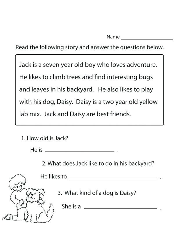 Comprehension Worksheets for First Grade 1st Grade Reading Worksheets