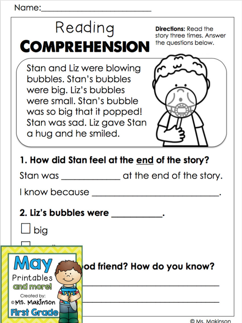 Comprehension Worksheets for First Grade 6 Printable Reading Prehension Worksheets Grade 1