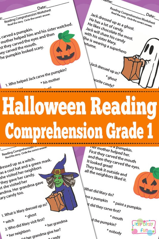 Comprehension Worksheets for First Grade Halloween Reading Prehension Worksheets for 1st Grade