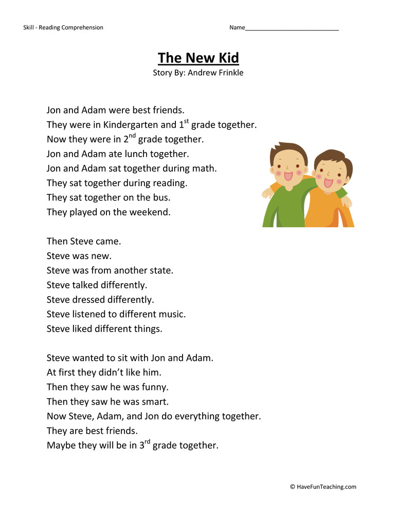 Comprehension Worksheets for First Grade the New Kid Reading Prehension Worksheet