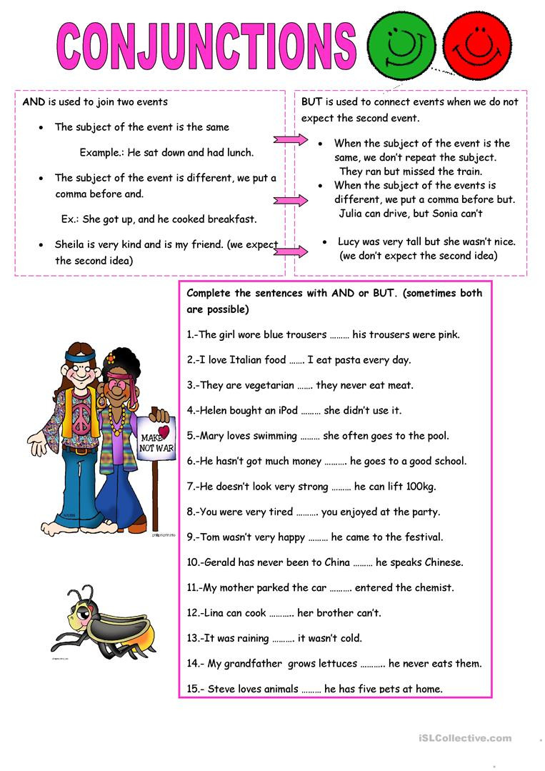 Conjunction Worksheets for Grade 3 Conjunctions and but English Esl Worksheets for Distance