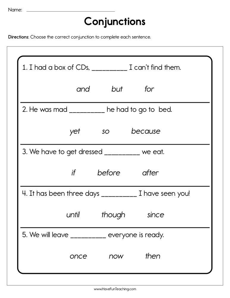 Conjunction Worksheets for Grade 3 Conjunctions Worksheet