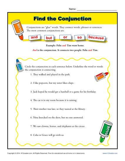 Conjunction Worksheets for Grade 3 Find the Conjunction