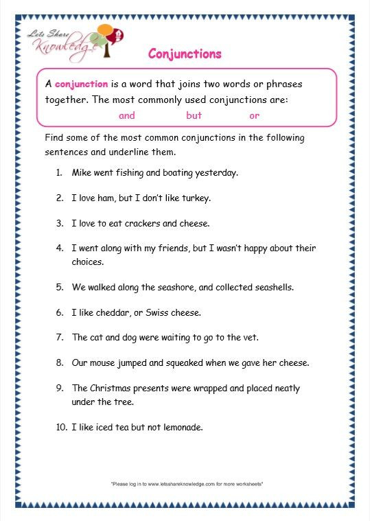 Conjunction Worksheets for Grade 3 Grade 3 Grammar topic 19 Conjunctions Worksheets In 2020