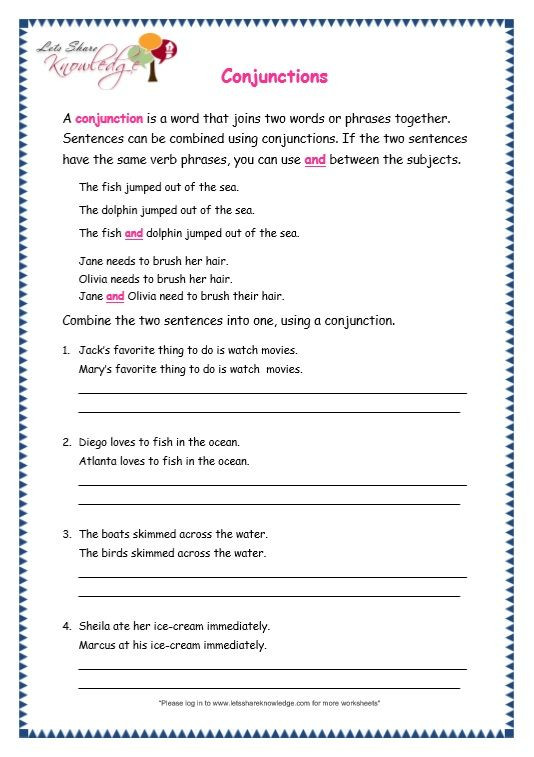 Conjunction Worksheets for Grade 3 Grade 3 Grammar topic 19 Conjunctions Worksheets