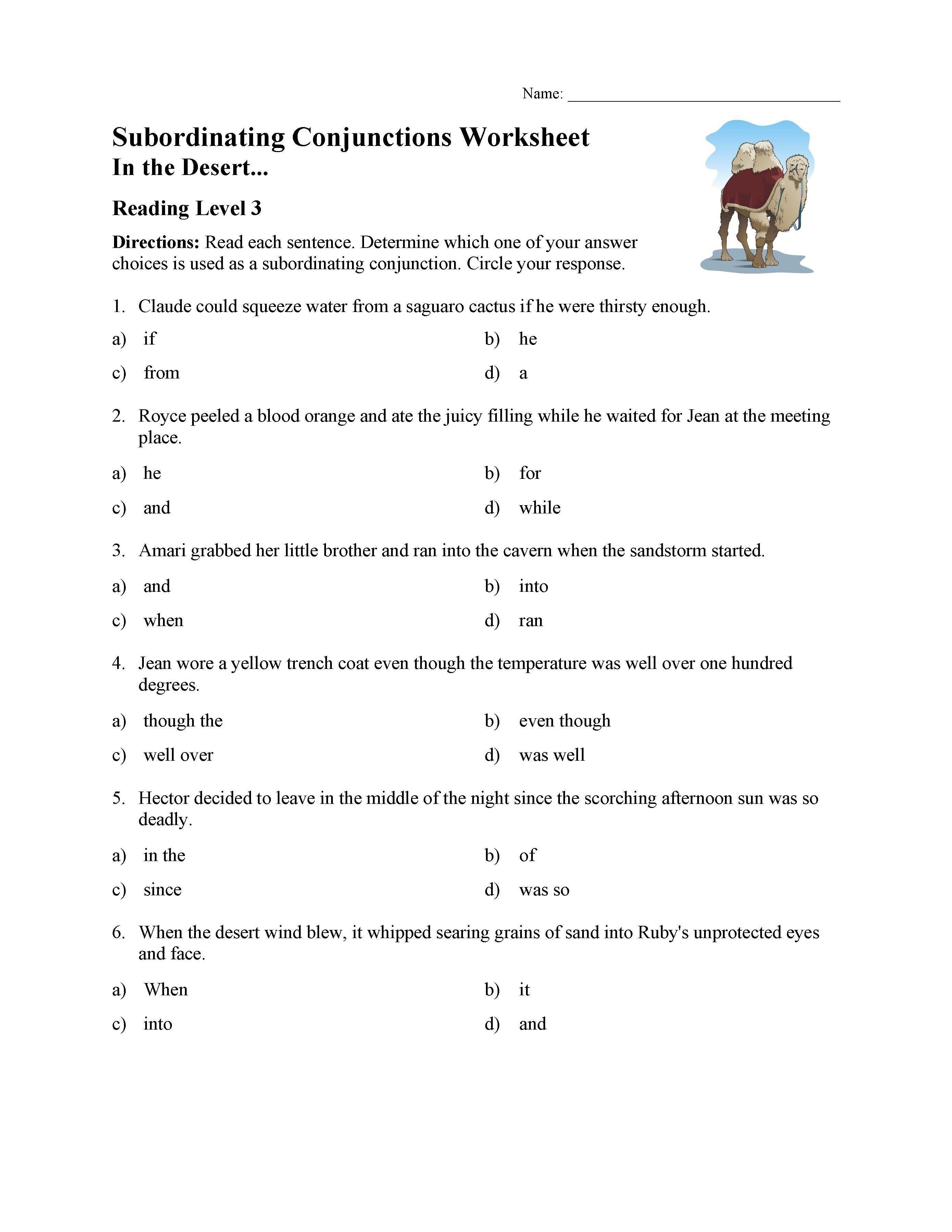 Conjunction Worksheets for Grade 3 Subordinating Conjunctions Worksheet Reading Level 3