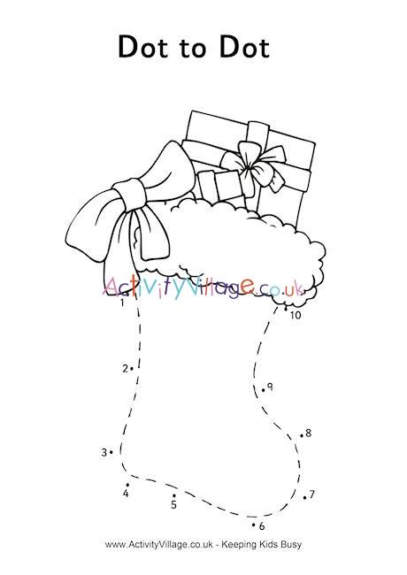 Connect the Dots Christmas Printables Christmas Stocking Dot to Dot