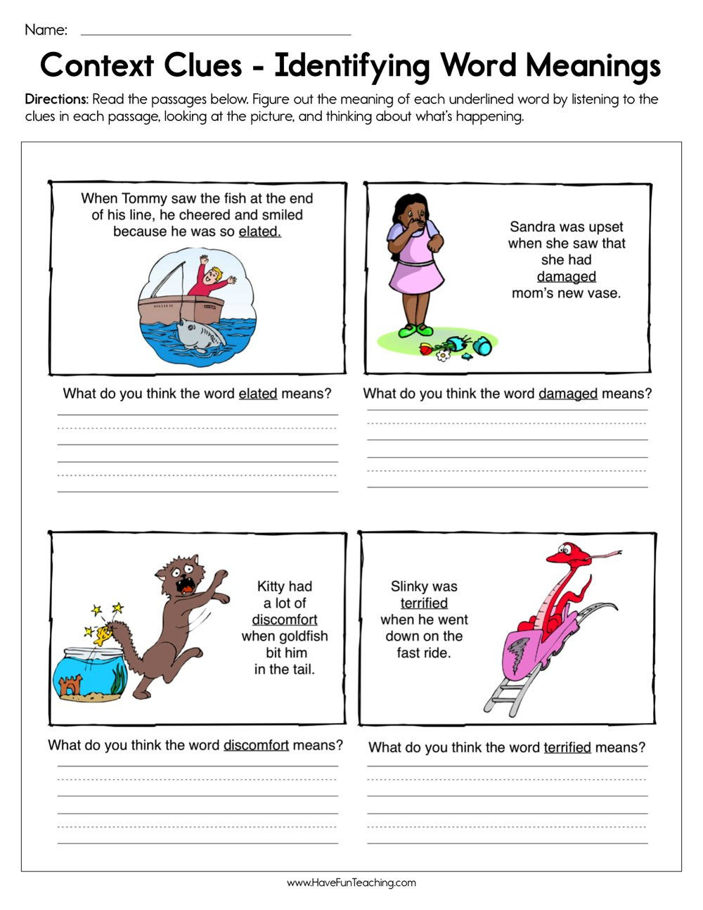 Context Clues Worksheets 1st Grade Context Clues Identifying Word Meaning Worksheet